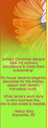Jamie Bloomquist is an expert Christmas and holiday decorator in Grand Rapids Michigan. She sets up homes with holiday trimmings, a stressful and time consuming job for most - but fun for her! Jamie's high energy personality and spunky nature make it a blast to decorate for the holidays. She can assist you or do the complete job on her own; she can use what you have and create a whole new look - or she can start from scratch. Jamie will work with you to incorporate your unique holiday style and make your home beautiful.